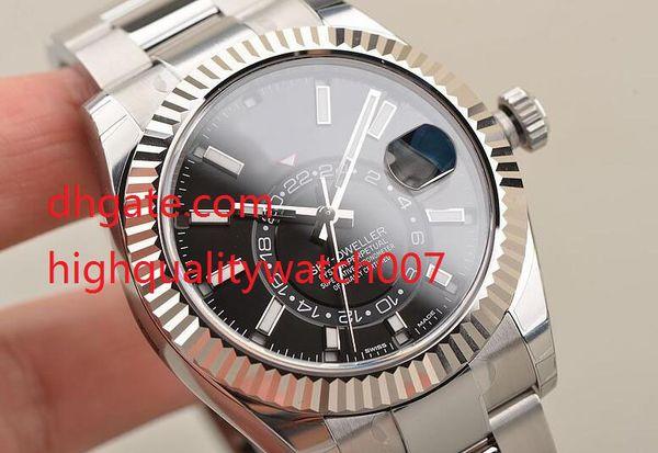 Top Luxus Sky Dweller Steel Automatik 42 mm Lünette Schwarz Watch 326934 m326934-0005 Black Dial Mens Herrenuhr Uhren