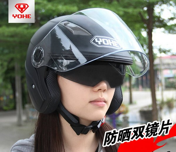 YOHE dual lens winter half face motorcycle helmet Eternal electric bicycle helmet motorbike helmet YH837A SIZE M L XL XXL 7 colors