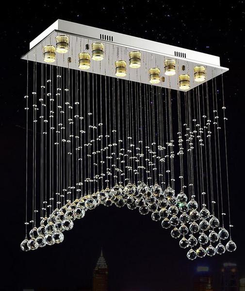 Water drop K9 crystal Ceiling light living room plafon lamp luminarias para sala de jantar stainless steel modern ceiling light