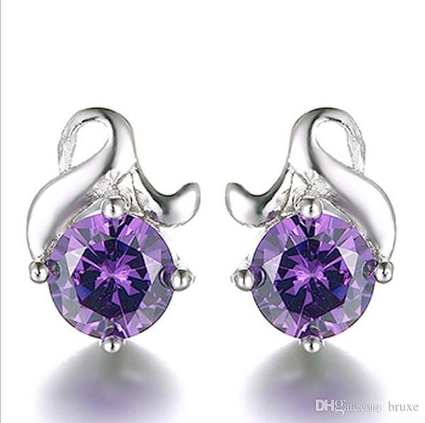 High quality Female earrings female Korean temperament zircon flower earrings silver jewelry ear jewelry wholesale explosion models