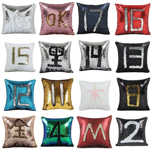 2018 Created Hot DIY Two Tone Glitter Sequins Pillows cover Cafe Home Decorative Cushion Case Novelty toys geek play antistress toy