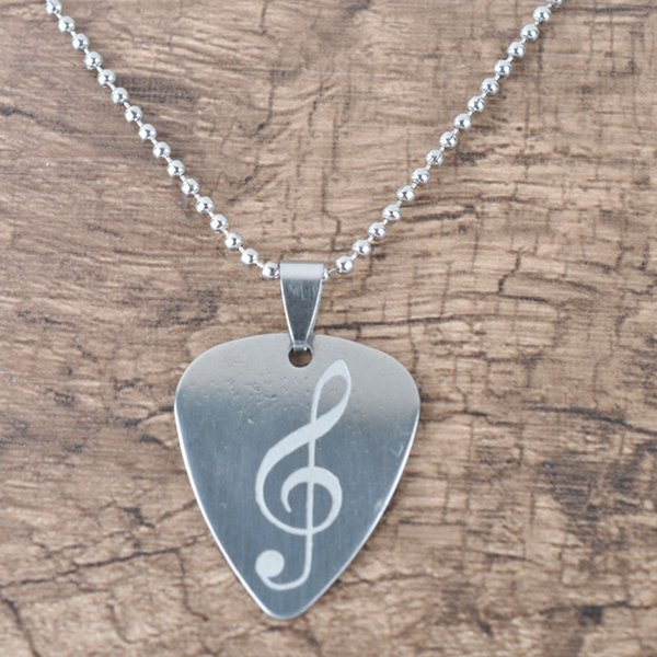 Hot Selling Stainless Steel Guitar Pick Pendant Necklace With LOGO Free 100pcs