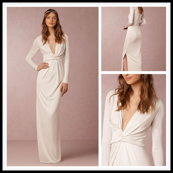 Simple Long Sleeve Wedding Dress White Deep V Neck Sheath Floor ...