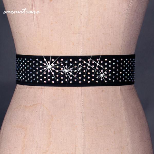 top popular Customized Shinning Rhinestones Belt for Women Ballroom Waltz Latin Dance Dancing Accessories Dancing Belt 6 Colors D0071 with Shinning 2019