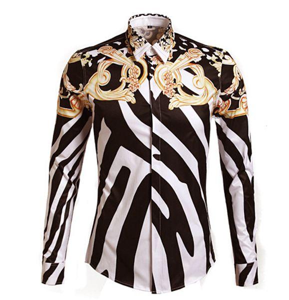 2016 Designer de Camisas Homens Zebra Impressão de Luxo Casual Slim Fit Elegante Camisas de Vestido de Manga Comprida Camisas Dos Homens de Algodão Moda Roupas M-3XL