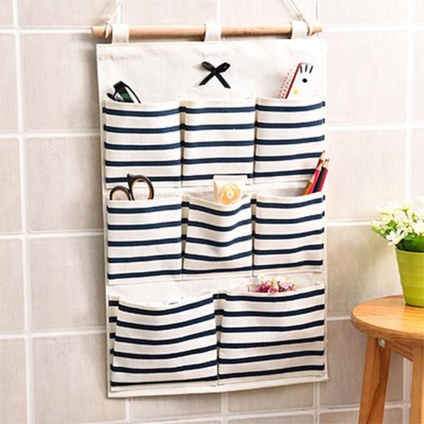 Wholesale- 8 Pockets Hanging Storage Bag 2016 New Door Wall Mounted Home Sundries Clothing Jewelry Closet Organizer Bags Blue/ Red
