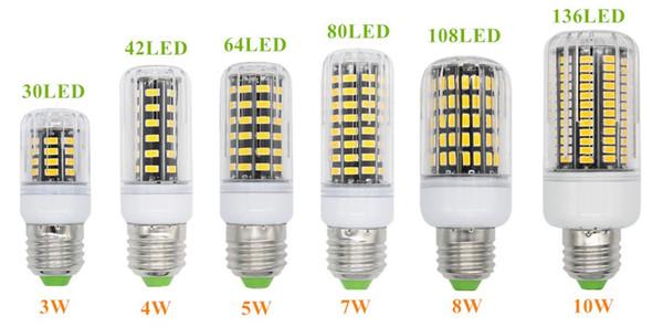 top popular E27 E26 E14 GU10 G9 B22 LED Light Office Corn Bulb Super Bright 5733 SMD 7W 12W 18W 22W 25W 35W 136 LEDs Warm White Via DHL 2020