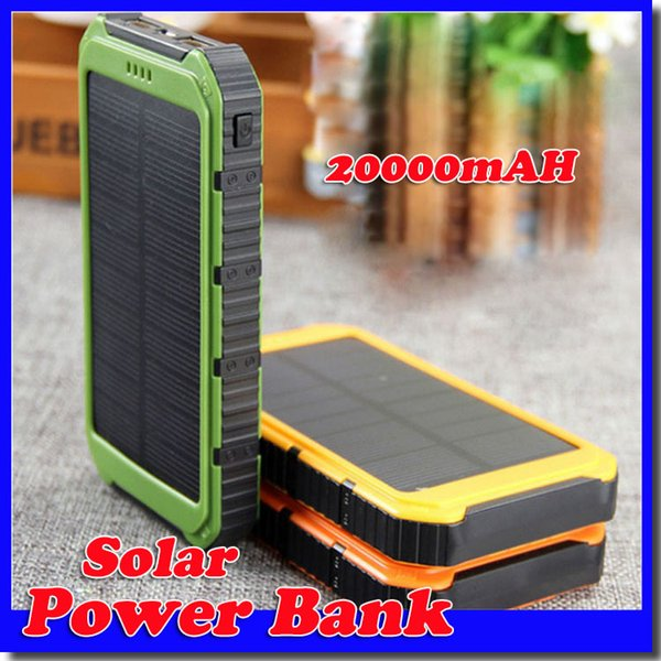 best selling 20000mAh Novel solar Power Bank Ultra-thin Waterproof Solar Power Banks 2A Output Cell Phone Portable Charger Solar Powerbank