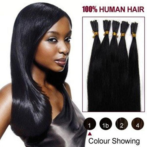 "200s/pack 0.8g/s 14''- 24"" Keratin Stick I Tip Human Hair Extensions Indian hair 1# jet black dhl Fast shipping"