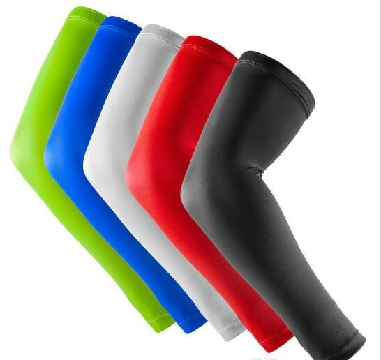 Yeni Marka Bir Çift Spor basketbol Kol pedleri Emniyet Dirsek Pedleri Katı Renk Kol Desteği Buzağı Sıkıştırma kol kollu Spor Koruyucu