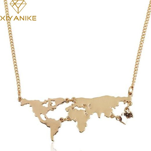 Fashion Simple Gold Color Black 3 Color Globe World Map Pendant Necklace Personality Teacher Student Gifts Earth Jewelry N239
