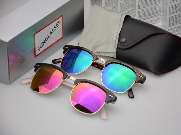 Classic Half Metal Sunglasses Men Women Brand Designer Glasses Mirror Sun Glasses Fashion Gafas Oculos De Sol UV400 S1580 with cases and box