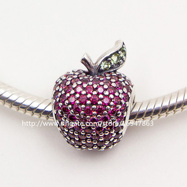 100% S925 Sterling Silver Apple Charm Bead with Fancy Red Cz Fits European Pandora Jewelry Bracelets Necklaces & Pendant