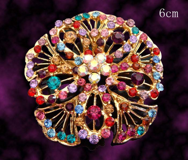 Wholesale hot sell fashion flowers crystal brooch rhinestone alloy brooch costume jewelry Free shipping 12pcs lot mixed colorBH660