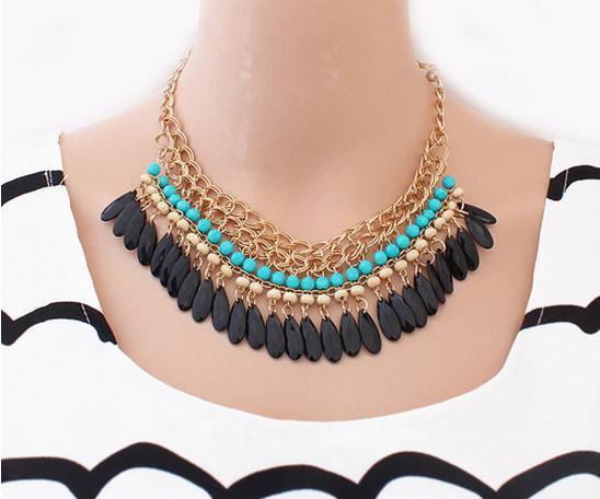 2015 Bohemian Retro Vintage Fashion Lots layered Gem Beads Tassel Bib Choker Gold Necklace Women Female hot Sale