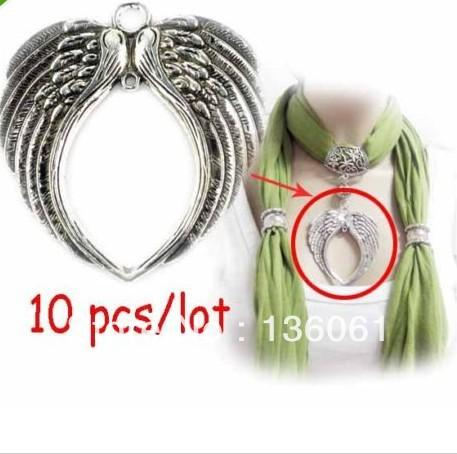 Vintage Silver Big Angel Wing Heart Charms Pendants For Bracelet Necklace Jewelry Making Bead Brand DIY Accessories 10PCS Z2697