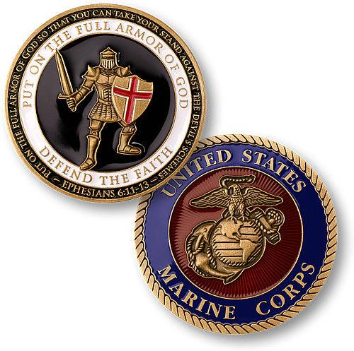 top popular Free Shipping Armor of God U S Marines Challenge Coin 2021