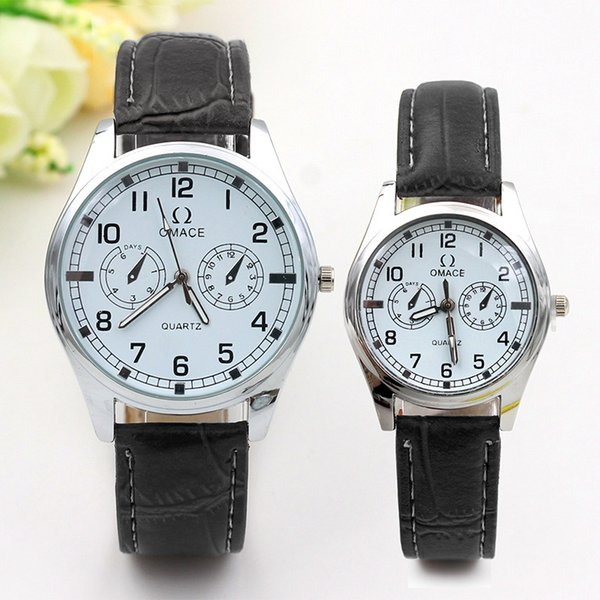 Fashionable double eye belt valentine couple watch handmade genuine leather watch wholesale wrist watch for gift