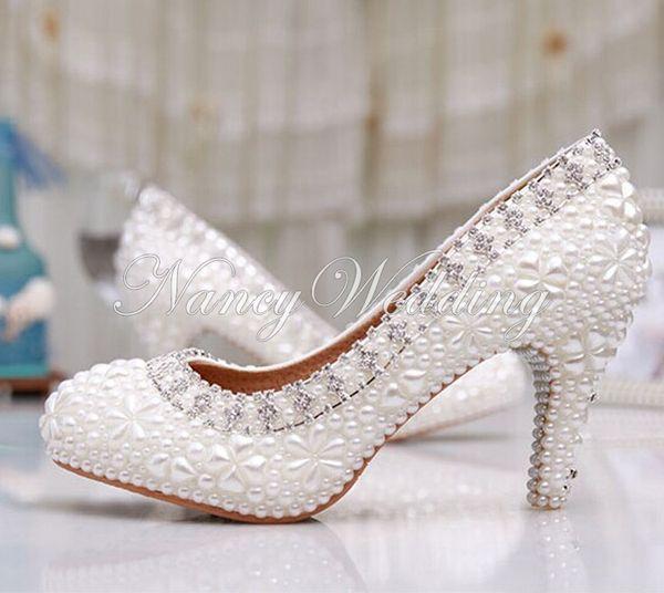 Großhandel Luxus Reine Weiße Perlen Hochzeits Schuhe 3 Zoll Bequeme Runde Zehe Antislip Brautkleid Schuhe Valantine Geschenk Partei Abschlussball