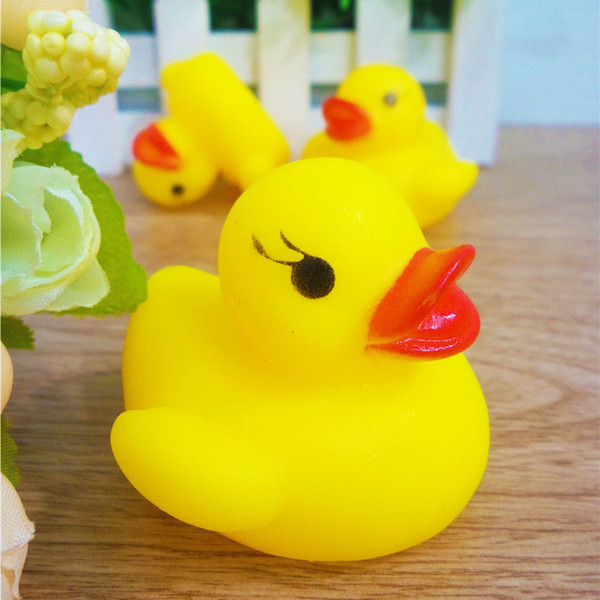 Yellow Duck Cartoon Rubber Dolls Baby Bath Water Beach Toys Safety Press Sounds Bathing Swiming Sand Play Water Fun Kids Toys 120pcs