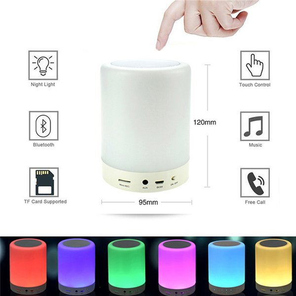 XML Night Light Bluetooth Speakers Portable Wireless Music Speaker Smart Touch Control Color LED Bedside Table Lamp Speakerphone TF Card