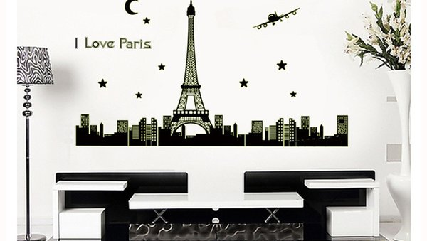 New Paris Tower Night Glow Stickers Background Wall Stickers Bedroom Living  Room Decoration Wall Posters Eiffel
