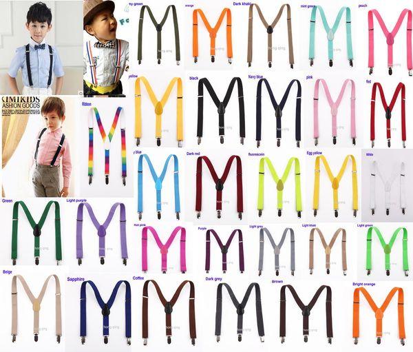 best selling 20pcs New Children Kids Boy Girls Clip-on Y Back Elastic Suspenders Adjustable Braces Christmas gift full color