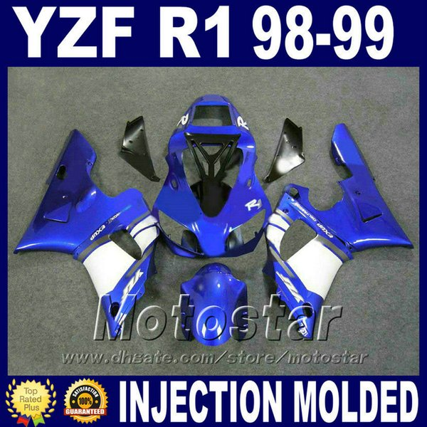 Injection molding for YAMAHA 1998 1999 R1 fairing kit YZF-R1 blue white ABS Plastic body set 98 99 yzf r1 fairings P9M8