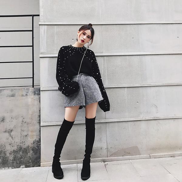 2017 autunno e inverno nuovo coreano Black Beaded Lantern Sleeve Maglione set loose T-shirt maglione testa femminile