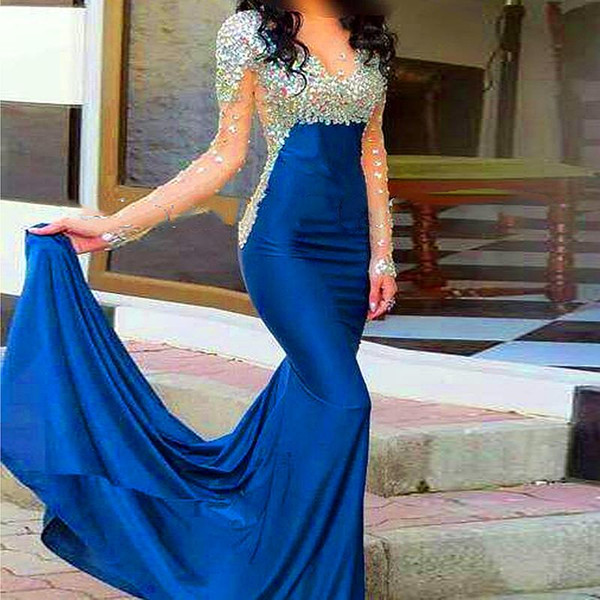 2016 Fashion Crystal Navy Blue Satin Long Sleeve Evening Dresses 2015 Sheer Mermaid Evening Party Prom Gowns With Rhinestone Cheap Dresses Designer