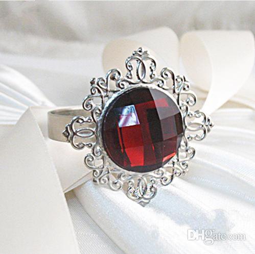 100PCS Silver Plated Burgundy Dark Red Vintage Style Napkin Rings Wedding Bridal Shower Napkin holder,Bling Acrlic Crystal Napkin Rings