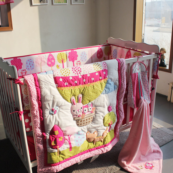 8 pieces cotton baby bedding set embroidery 3D Hot air balloon rabbit fox owl quilt bedskirt bumper blanket crib bedding set