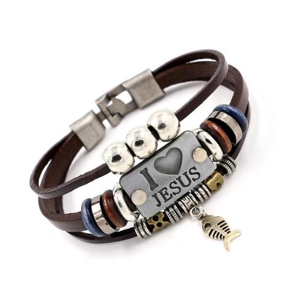 top popular DHL I LOVE JESUS Charm Bracelets Vintage Fish Pendant Christian Multilayer Leather Bracelets for Mens Women Bangle 2021