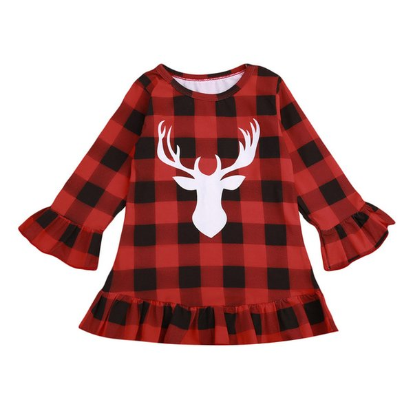 Christmas Kid Girls Dress Red Plaid Deer Ruffle Princess dresses Long Sleeve Kid Toddler Clothing NEW Xmas Checked Clothes 1-6T