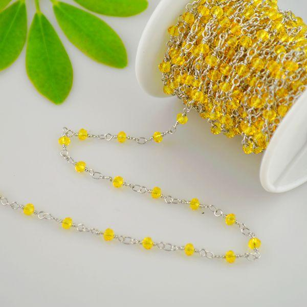 Charm Chain! 4MM Yellow Color Faceted Crystal Beads Wire Wrapped Beaded Rosary Chains Jewelry Finding 5Meter=16.4Feet