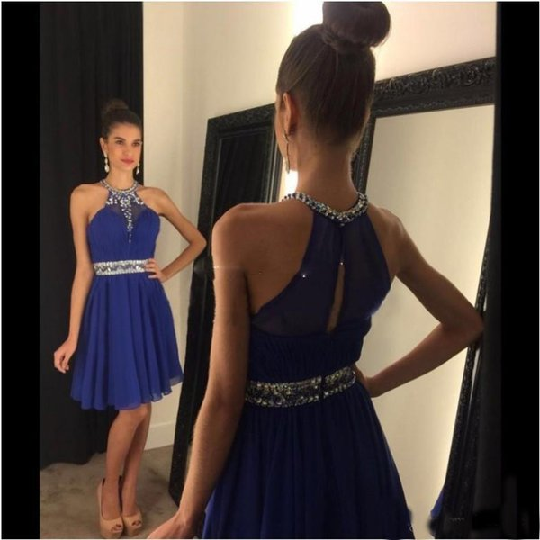 2019 Short Royal Blue Girls Party Prom Dresses Knee Length Chiffon Cheap Halter Sequins Beads Vestido Homecoming Gowns