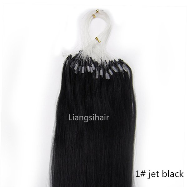 """Malaysian Loop Micro Ring Hair Extensions 16""""-26"""" 100s 1# Jet Black Straight Brazilian Peruvian Malaysian Indian Remy Human Hair Extensions"""