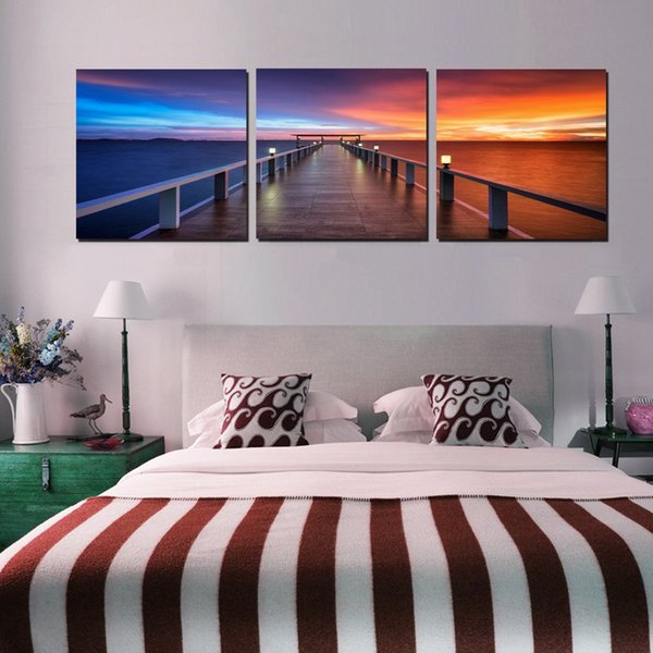 3 Pieces Modern Painting Art Picture Paint on Canvas Prints sea Wooden pier maple leaf bird fish Apple orange fruit juice tree rivers nature
