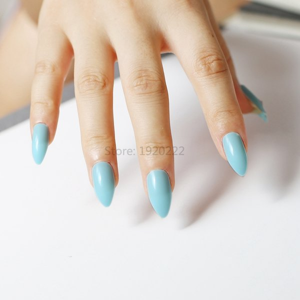 Solid Color Madam Long Pointed Candy False Nails Tail Tip Nail ...