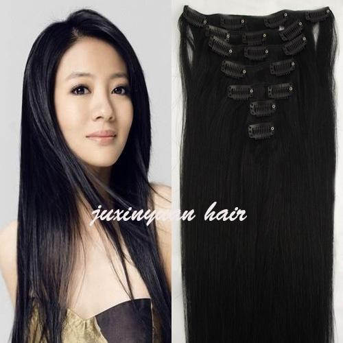 5A - 140g/pc 8pc/set 100% real human hair/lbrazilian hair clips in extensions real straight full head high quality