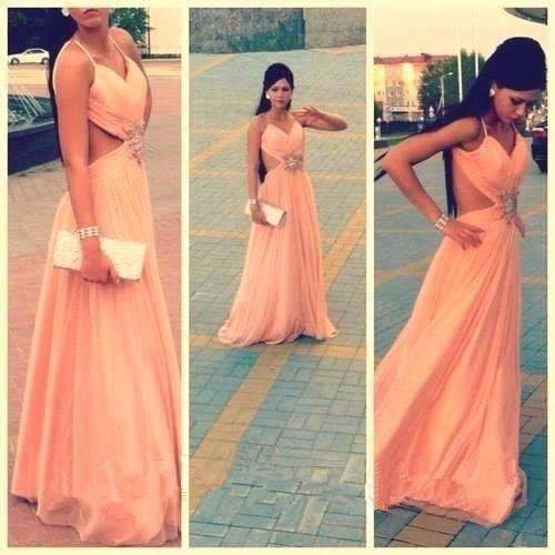 Hot Sale Bead Sequins Coral A-Line Long Formal Evening Dresses With Straps No Sleeve Chiffon Elegant Sexy Party Prom Dress Gowns Exquisite