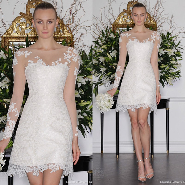 Stunning Short Long Sleeves Wedding Dress 2016 Sheer Neckline Lace Appliqued Bridal Gowns Cheap High Quality Formal Party Wear