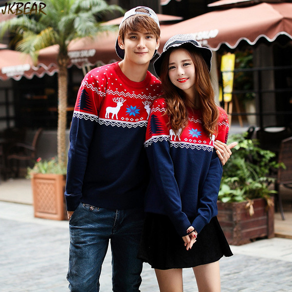 Christmas Sweaters For Couples.2019 Wholesale Contrast Color Matching Christmas Sweaters For Couples Cute Reindeer Snowflake Printed Pullovers S Xxl From Shoppingparty 30 13