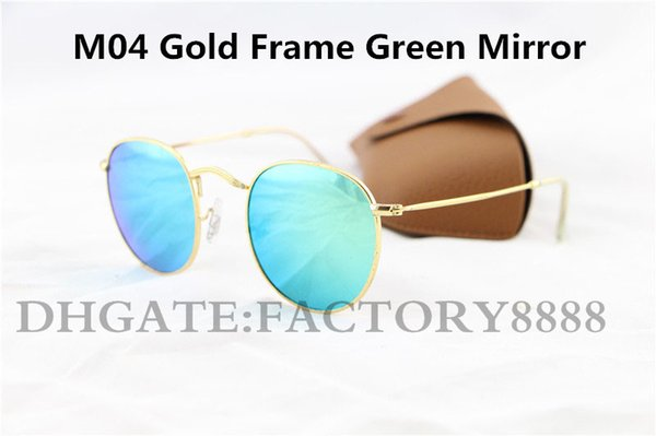 High Quality Men's Women's Unisex Designer ROUND METAL Optical Sunglasses Gold Green Flash Mirror Glass Lens 50MM Glasses With Box Case