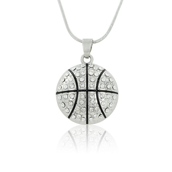 Simple Design Basketball Round Shape White Crystal Pendant Sports Women & Girl Gift Necklace Maxi Jewelry Best Gift For Basketball Lovers