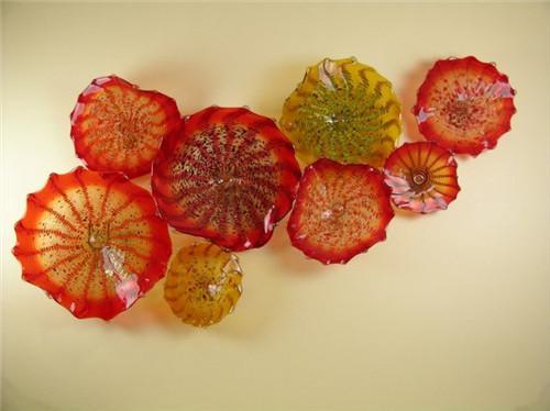 China Fábrica-tomada Blown Placas De Parede De Vidro CE Certificado UL Custom Made Vidro Chihuly Estilo Flor Decoração Da Parede Da Arte Lâmpadas