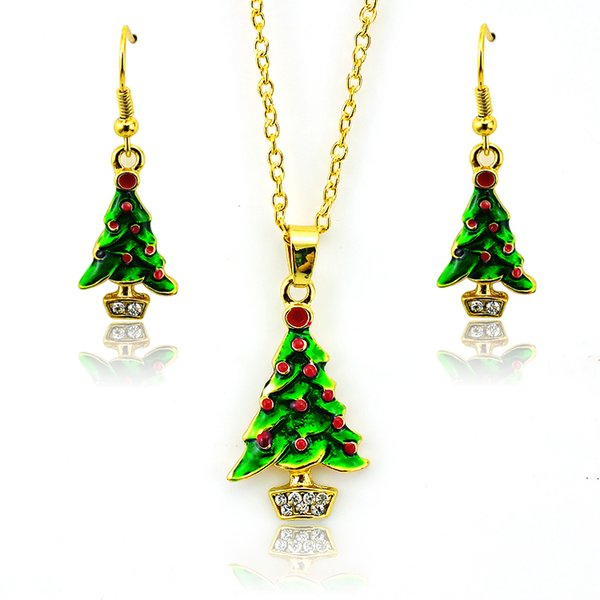 top popular New Arrival Fashion Jewelry Sets Gold Plated White Rhinestone Christmas Tree For Women Earrings Necklace Set Wholesale 2019