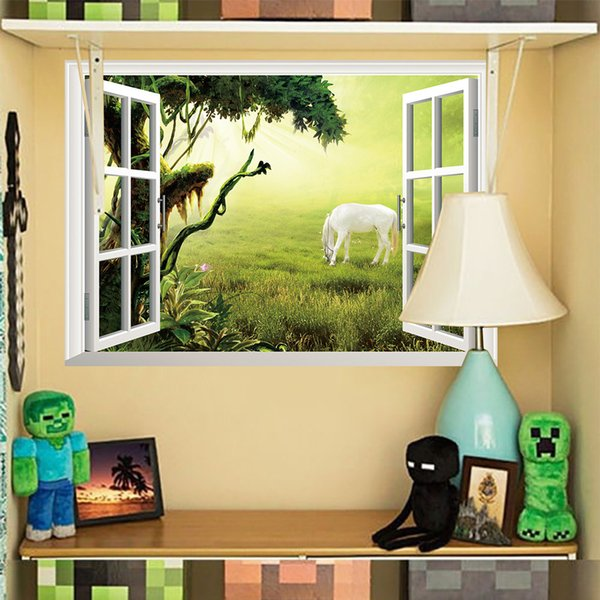 3d Fake Window Wall Sticker Sofa Background Bedroom Beautiful Sea ...