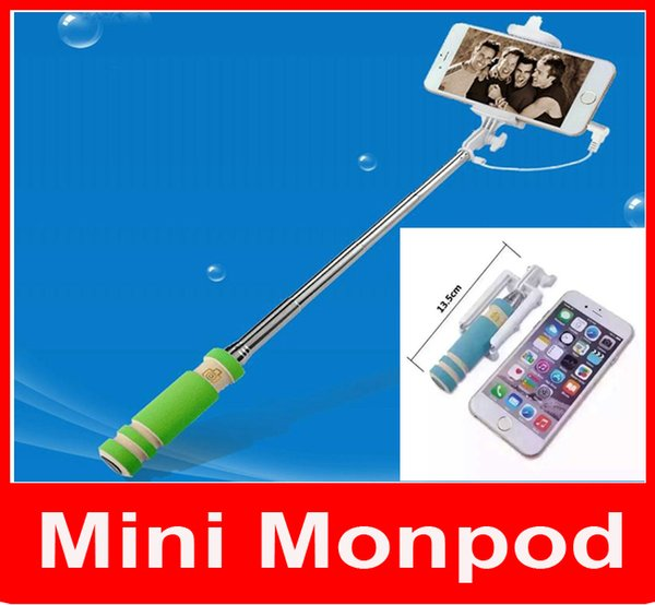 Super Mini Wired Selfie Stick Portable Extendable Folding Handheld Monopod Self Timer With Groove Audio Cable for iPhone Samsung cellphone