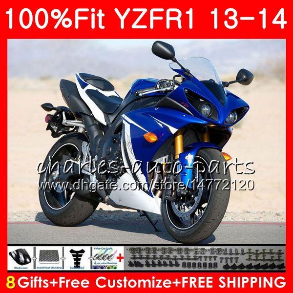 Injection Body For YAMAHA blue black YZF 1000 YZF R 1 YZF-1000 YZF-R1 13 14 86NO13 YZF1000 YZFR1 13 14 YZF R1 2013 2014 Fairing kit 100%Fit